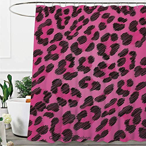 (Shower Curtains, Vibrant Leopard Skin Pattern Fashion Modern Wild Sexy Colors Display, Fabric Bathroom Decor Set with Hooks, 72 x 72 Inches)