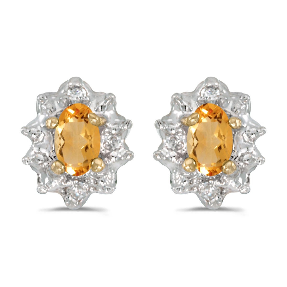 Jewels By Lux 10k Yellow Gold Studs Oval Gemstone And Diamond Earrings