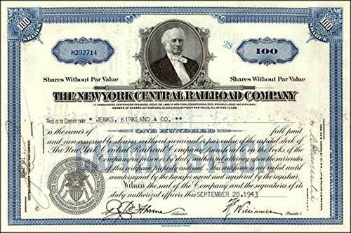 1935 HISTORIC ORIGINAL NY CENTRAL RR STOCK w VANDERBILT PORTRAIT! BLUE or BROWN (FREE SHIPPING on 2ND COLOR!) 100 SHARES (BLUE) Crisp Extra Fine or ()