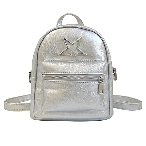 Amazon.com: Fasclot Fashion Girls Leather Shoulder Bag Student Children School Bag Travel Backpacks Silver: Clothing