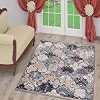 TAPISO COLORADO Collection Area Rug Vintage Design | Perfect for Living & Bed Room | Oriental Multicolor Pattern | Light Gray & Orange 2 x 33