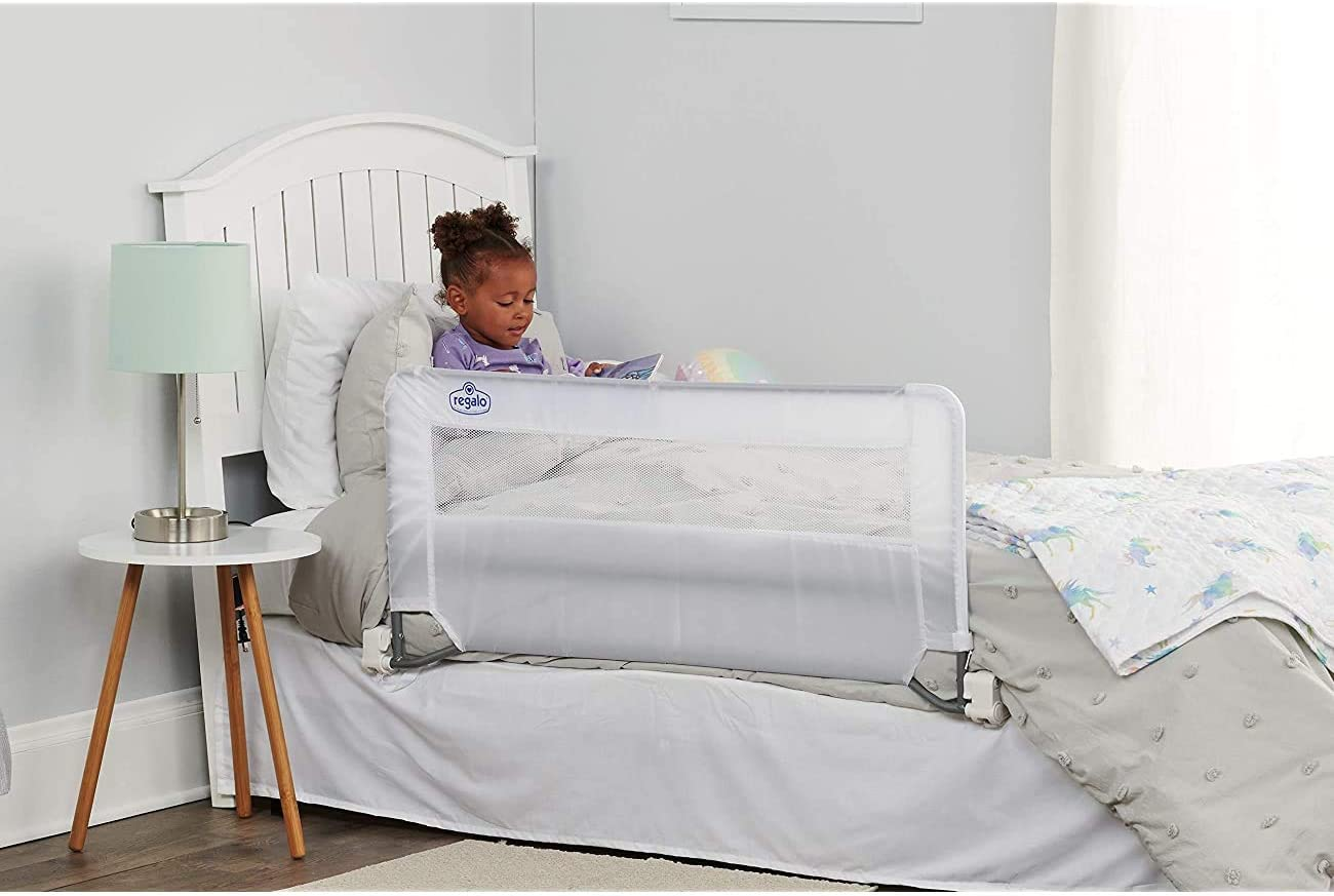 with Reinforced Anchor Safety System Swing Down Bed Rail Guard 43 x 1 x 20 inches White