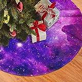 AHOOCUSTOM Merry Christmas Tree Skirt Galaxy Purple