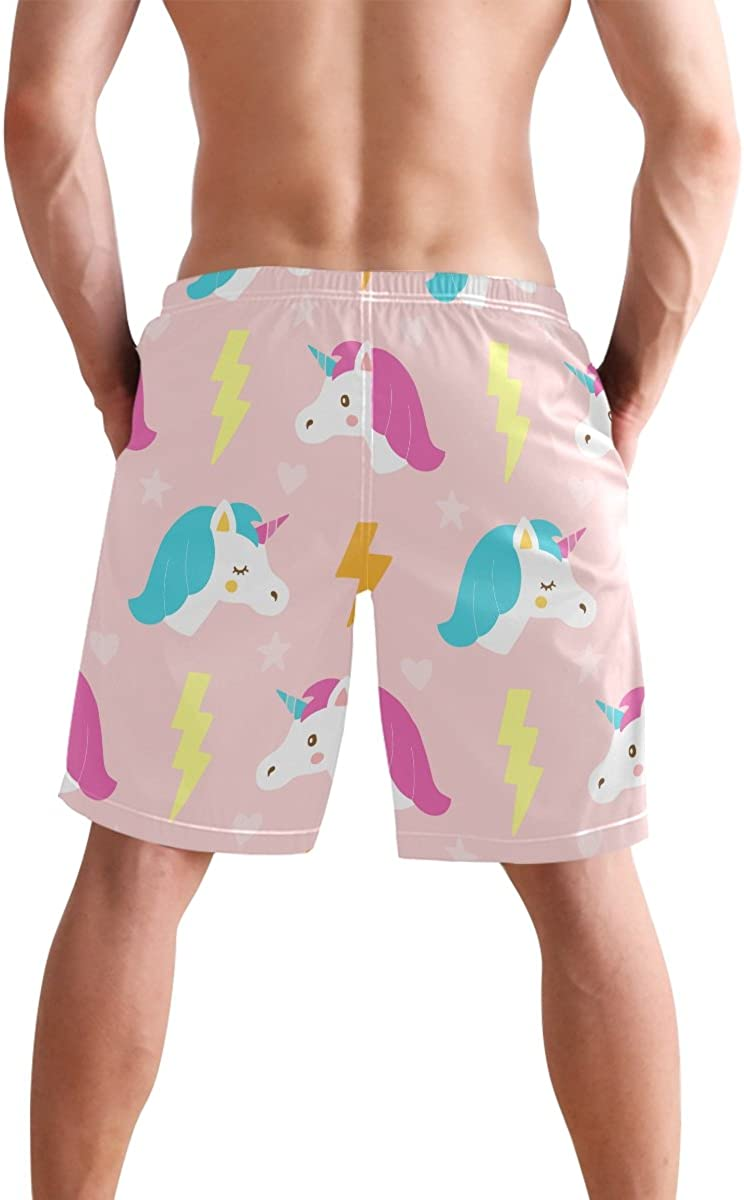 JERECY Mens Swim Trunks Cute Cartoon Unicorn Quick Dry Board Shorts with Drawstring and Pockets