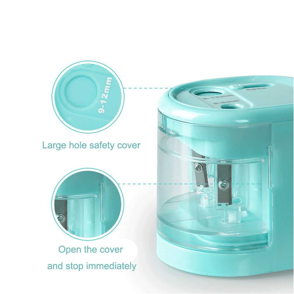 1 Pz Elettrica Temperamatite Del Foro Doppio USB Oa Pile Bambini Di Sicurezza Temperamatite Per Scuola Aula Ufficio Blu