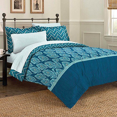 Attirant Discoveries Contemporary Elegant Peacock Comforter Set, Queen, Blue