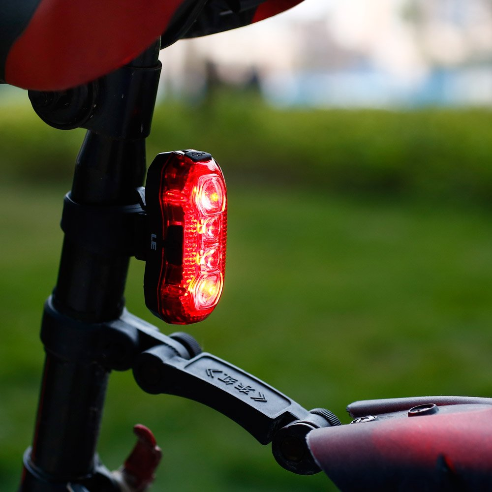 LE USB CREE LED Super Bright Bike Rear Tail Light 5 Lighting Modes Easy Install Red Safety Cycling Light - Fits on Any Bicycles Helmet Backpack by Lighting EVER (Image #3)