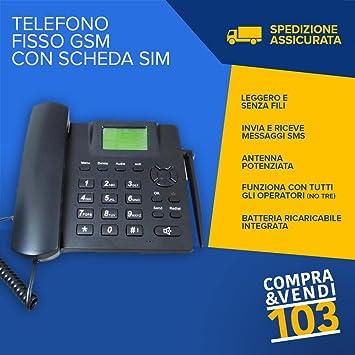 compraevendi103 - Teléfono fijo con tarjeta SIM Card GSM, de mesa, sin Canón, Tim Wind, teclas grandes, para mayores, manos libres: Amazon.es: Electrónica