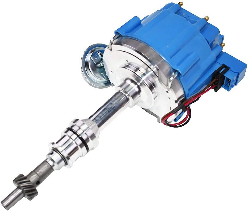 A-Team Performance Complete HEI Distributor 65K Coil 7500 RPM Compatible With Ford 351W Windsor 351W One-Wire Installation Red Cap