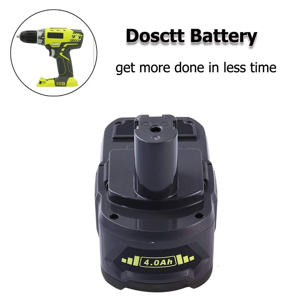 Dosctt P108 4 0Ah Replace for Ryobi 18V Battery 18 Volt One Plus P102 P103  P104 P105 P107 P109 Cordless Tool with LED Indicator
