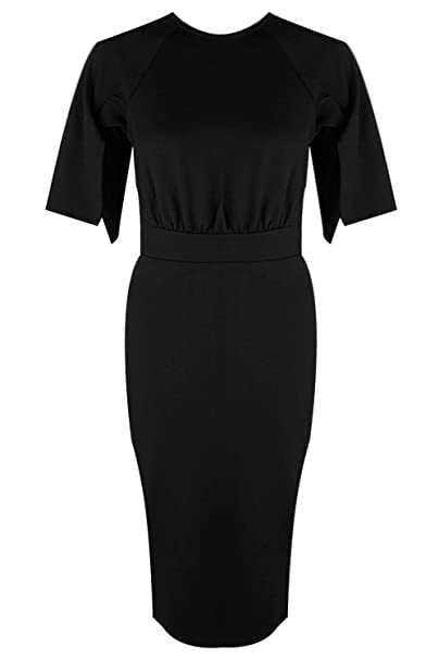fce1ba816bb Boohoo Womens Cesca Split Sleeve Detail Wiggle Midi Dress In Black Size 12
