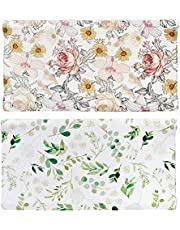 Diaper Changing Pad Cover, 2 Pack, Floral Changing Table Cover, Green Leaf Changing Pad Covers, Jersey Knit Changing Table Sheets, Gender Neutral Crib Bedding Covers for Baby Boy Girl