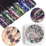 Nail Art Glitters, Alonea Mirror Glitter Aluminum Flakes Magic Mirror Effect Powders Sequins Nail DIY Tips 12 Pack