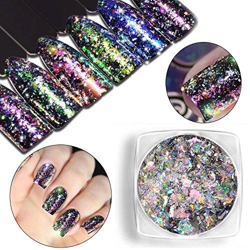 Nail Art Glitters, Alonea Mirror Glitter Aluminum Flakes Magic Mirror Effect Powders Sequins Nail DIY Tips 12 Pack by Alonea