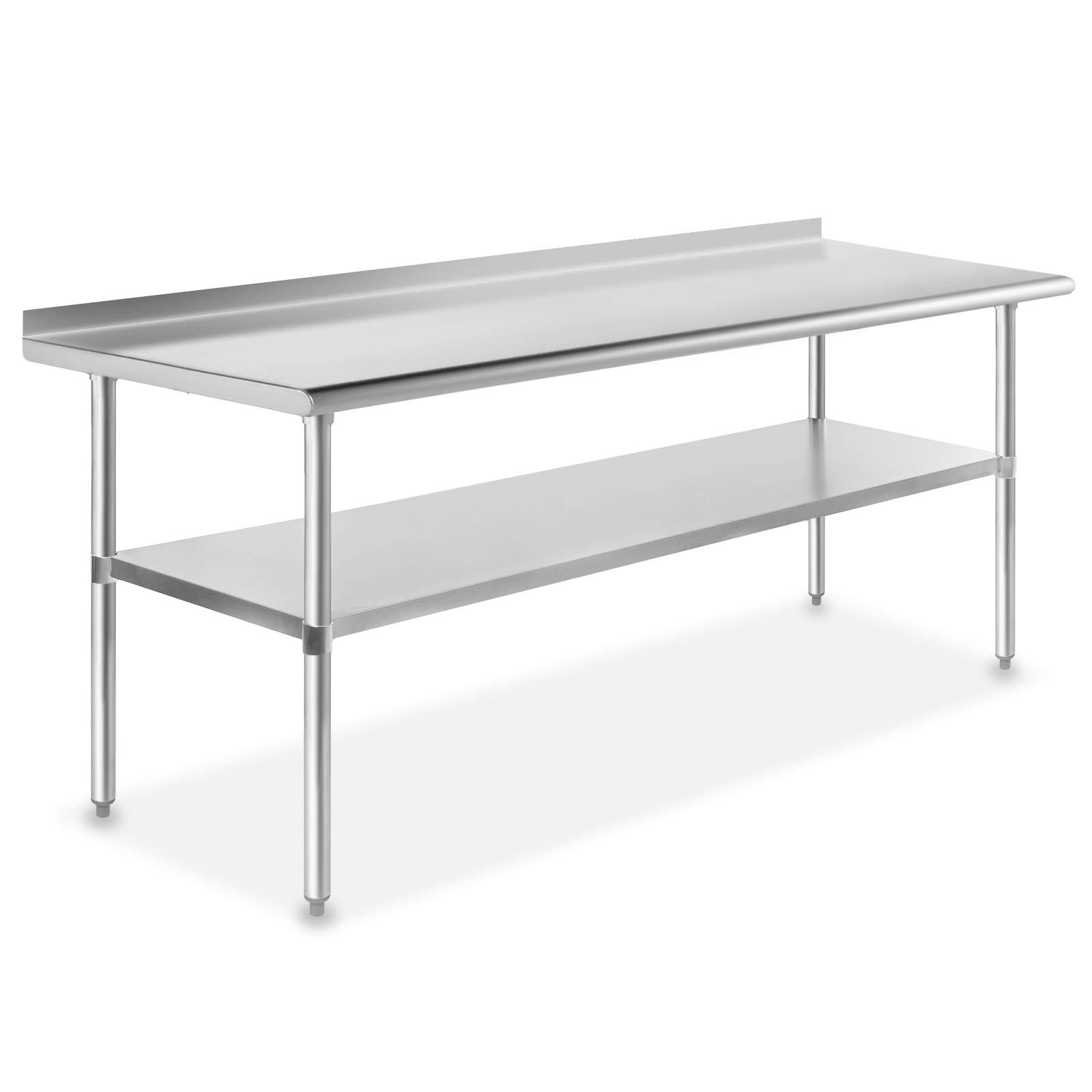 GRIDMANN NSF Stainless Steel Commercial Kitchen Prep & Work Table w/Backsplash - 72 in. x 24 in. by GRIDMANN