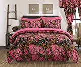 Regal Comfort The Woods High Viz Pink Camouflage King 4 Piece Premium Luxury Comforter, Bed Skirt, and 2 Pillow Shams Set - Camo Bedding Set For Hunters Cabin or Rustic Lodge Teens Boys and Girls