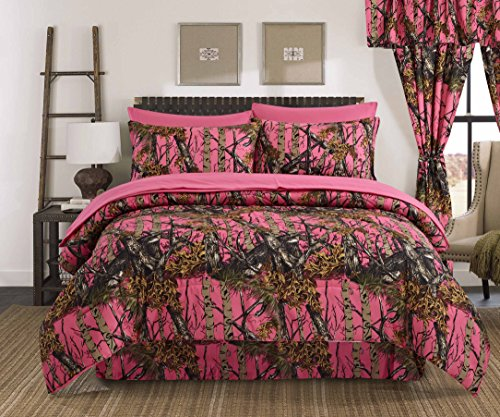 Antique Oak Tree (Regal Comfort The Woods High Viz Pink Camouflage Queen 4 Piece Premium Luxury Comforter, Bed Skirt, and 2 Pillow Shams Set - Camo Bedding Set For Hunters Cabin or Rustic Lodge Teens Boys and Girls)