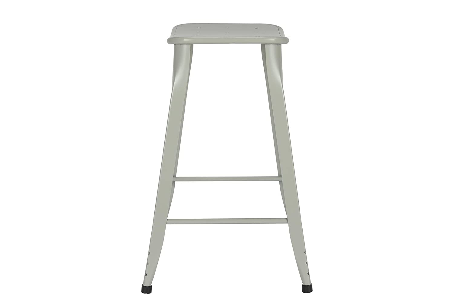 Novogratz Nara Backless Counter Stool with Sturdy Metal Legs, Set of 2, Grey