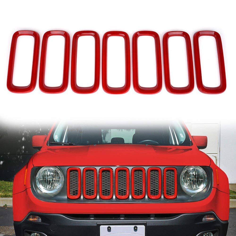 7Pcs//Set Auovo Front Grille Inserts Cover Trim Frame ABS Decoration Cover for Jeep Renegade 2016 2017 2018 RED