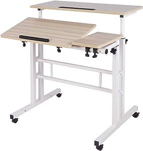 Panghuhu88 Mobile Standing Desk Adjustable Height Stand Up Desk Mobile Rolling Desk Height Adjustable Computer Desk for Home Office (White)