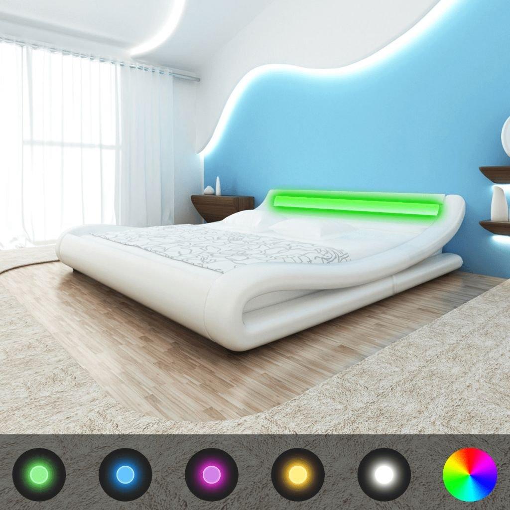 vidaXL Estructura de Cama con LED 180x200 cm Cuero Artificial Blanco
