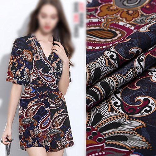 Navy Blue 100% Pure Silk Crepe De Chine Fabric with Paisley Print By The Yard, 44