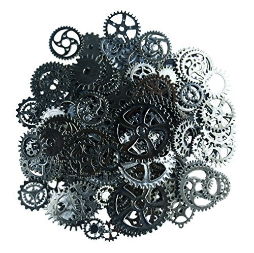 Aokbean 150 Gram Assorted Vintage Bronze Metal Steampunk Jewelry Making Charms Cog Watch Wheel (Gunblack)