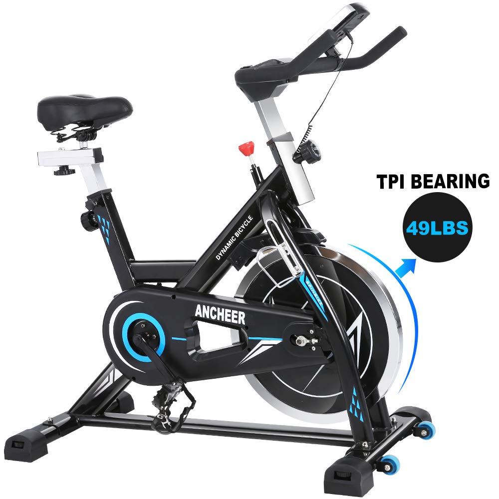 ANCHEER Indoor Cycling Bike Stationary Exercise Bikes, 49LBS Silent Belt Drive Chromed Flywheel with LCD Monitor, IPAD Holder, Caged Pedals, Adjustable Seat Cushion & Handlebar & Base for Home Workout by ANCHEER