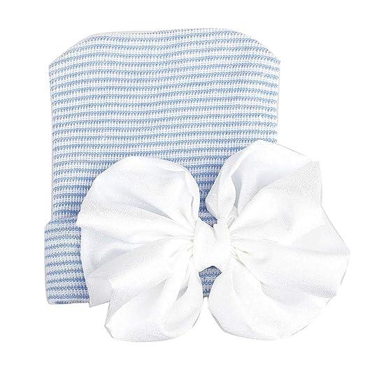 2938fadf1c8 Amazon.com  WARMSHOP Unisex Newborn Girls Boys Solid Big Bowknot Fashion  Soft Cotton Knit Toddler Beanies Sleeping and Photograph Cap Headwear Hat  (Blue)  ...
