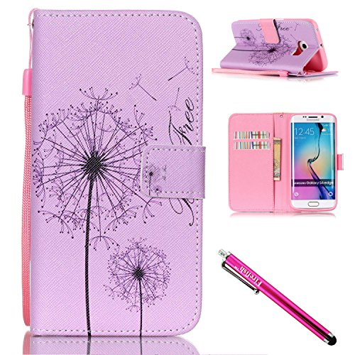 Galaxy S6 edge Case, Firefish Kickstand Flip [Card Slots] Wallet Cover Double Layer Bumper Shell with Magnetic Closure Strap Case for Samsung Galaxy S6 edge-A-Dandelion