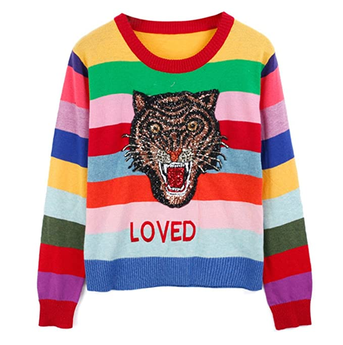 f6fc355fe3 YRTF Women Sweater Rainbow Striped Knitted Pullovers Loved Embroidered  Sweater Red M