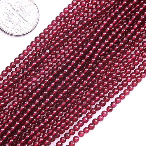 GEM-inside Garnet Gemstone Losse Beads Natural 2mm Round Seed Beads Gemstone Gem Round Energy Stone Power Beads For Jewelry Making 15""