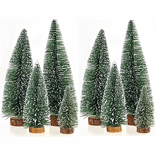 Christmas Mini Green Centerpiece (ORYOUGO Factory Direct Craft Set of 8 Artificial Mini Sisal Bottle Brush Christmas Trees Party Decoration Ornaments Santa Snow Frost Village Putz House(4'',6'',7.9'',9.8''))