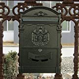 Traditional Aristocratic, Sun Identity Villa Cast Aluminum Mailboxes 49 Colors Available (10 Verde Green Wave)