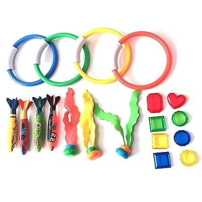 Juego de 19 piezas para piscina, juguetes, buceo, niños, juguetes impermeables, torpedo bandidos, serpentinas, pez, pulpo divertido, regalos: Hogar