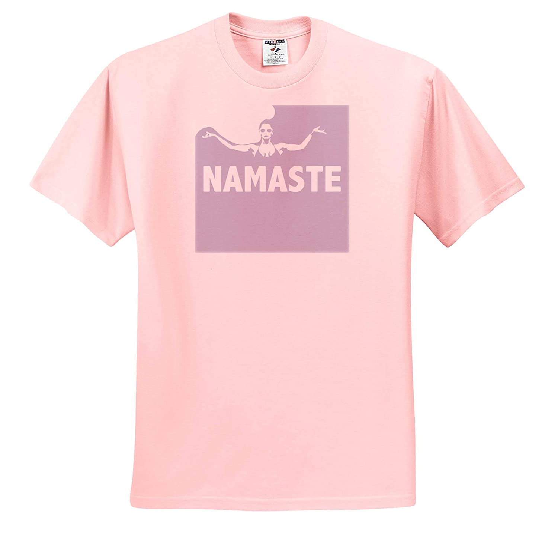 3dRose Kike Calvo Yoga T-Shirts White and Pink Breath