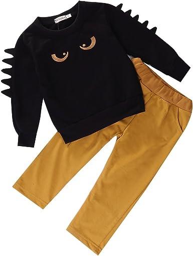 Autumn and Winter Models - Traje de 2 Piezas para niño de Manga Larga, Cuello Redondo, algodón cálido, Camisa Negra + Traje de Pantalones Amarillos (niños de 1 a 6 años): Amazon.es: Ropa y accesorios