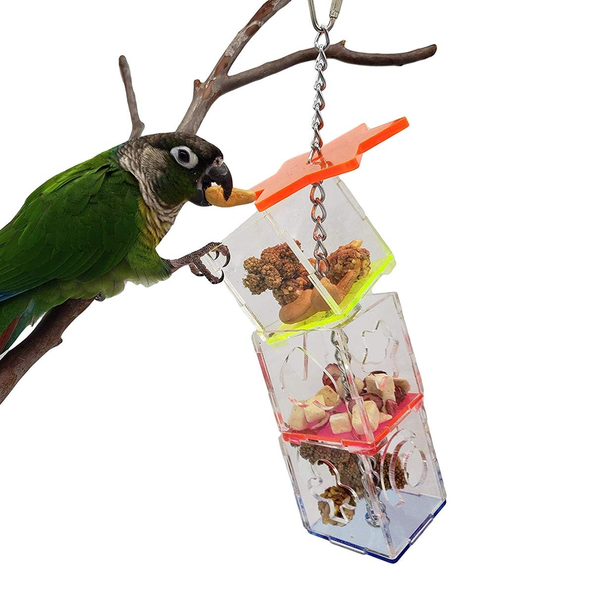 Bird Foraging Toy Acrylic Multi-Layer Feeder Box Parrot Climbing Bite for Parakeet Macaw Conure Cockatiel Lovebird Finch by Wontee