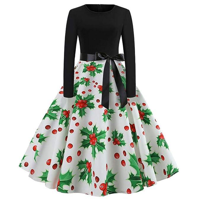 046d9b53655e8a Hiroo Vestito di Natale delle Donne Abito Manica Lunga Vintage da Donna  Abito di Natale Abito