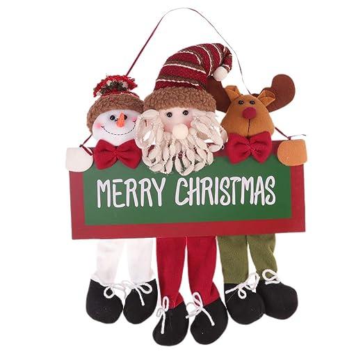 Amosfun feliz navidad placa navidad colgante placa cartel ...
