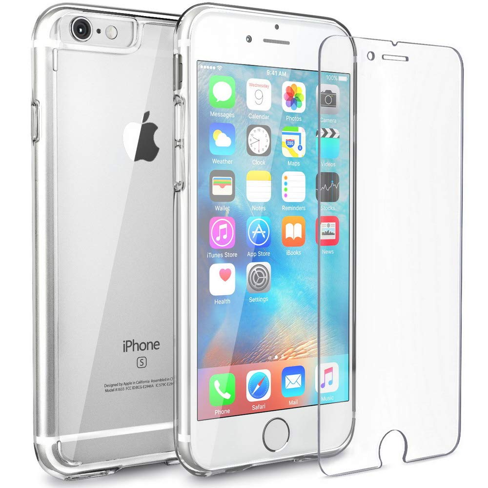 FlexGear Clear iPhone 6s case [Aura X] Hard PC Back TPU Bumper + Tempered Glass Screen Protector, Compatible with iPhone 6/6s (Clear) FG-135