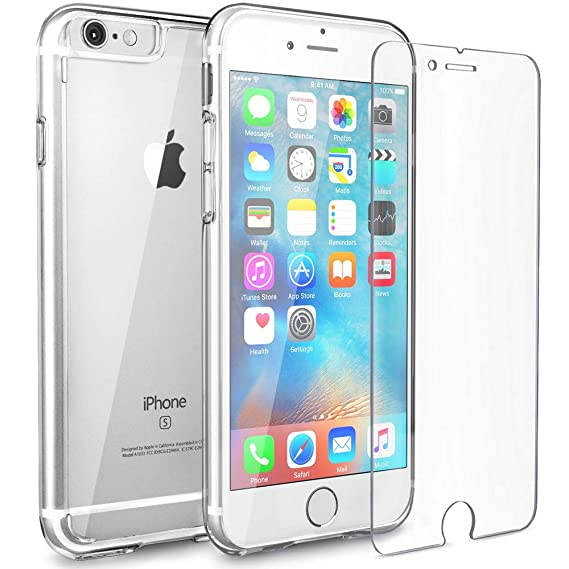 online store 9625f 82a21 FlexGear Clear iPhone 6s case [Aura X] Hard PC Back TPU Bumper and Tempered  Glass Screen Protector, Compatible with iPhone 6/6s (Clear)