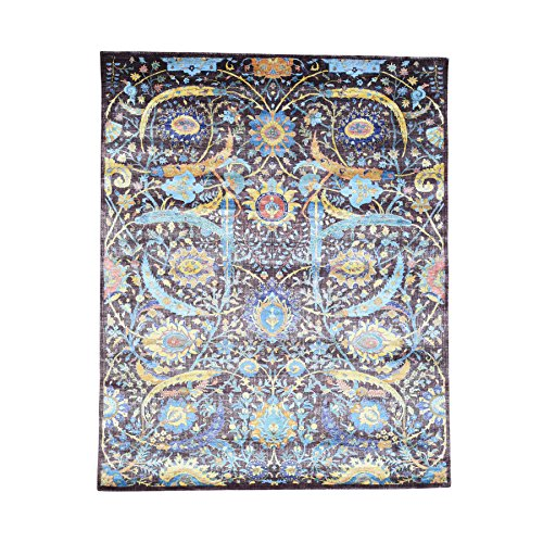 Hand-Knotted Wool And Bamboo Silk Tabriz Sickle Leaf Design Rug (8' x 10')