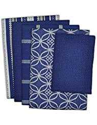 """DII Cotton Oversized Kitchen Dish Towels 18 x 28"""" and Dishcloth 13 x 13"""", Set of 5 , Absorbent Washing Drying Dishtowels for Everyday Cooking and Baking-Nautical Blue"""