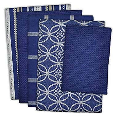 DII 100% Cotton, Ultra Absorbent, Oversized, Washing, Drying, Basic Everyday Kitchen Dishtowel 18 x 28  & Dishcloth 13 x 13 , Set of 5 - Nautical Blue