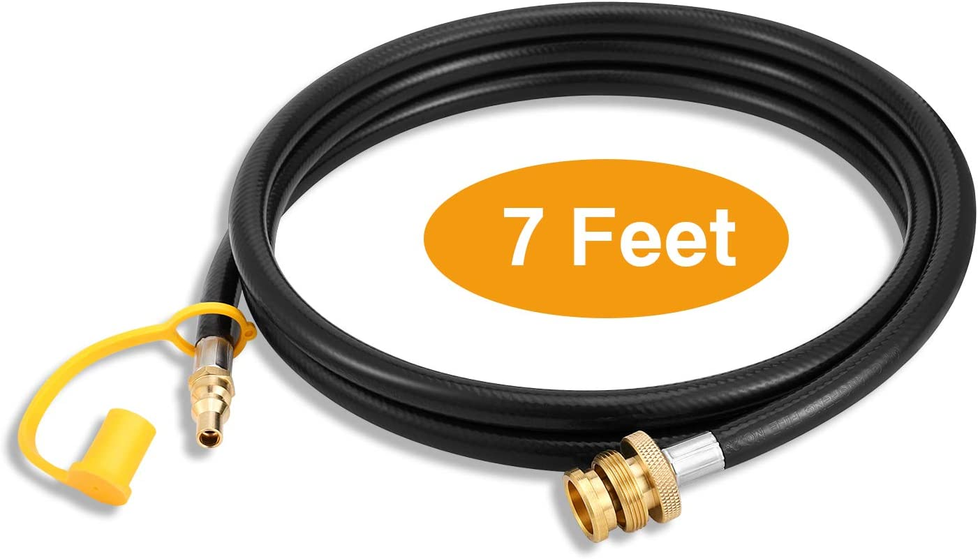 """Kohree 1/4"""" Quick Connect Propane Hose for RV to Grill, 7 FT Liquid Propane Gas Grill Adapter Hose Fitting Converter Replacement for 1 LB Portable Appliance to RV 1/4"""" Female Quick Disconnect"""