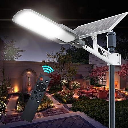 HENGX Luz Solar Exterior Jardin, Farola Solar LED Luces Solares Lámparas Solares De Control De Luz Inteligente A Prueba De Agua Al Aire Libre con Soporte De Pared Y Control Remoto。,120w: Amazon.es:
