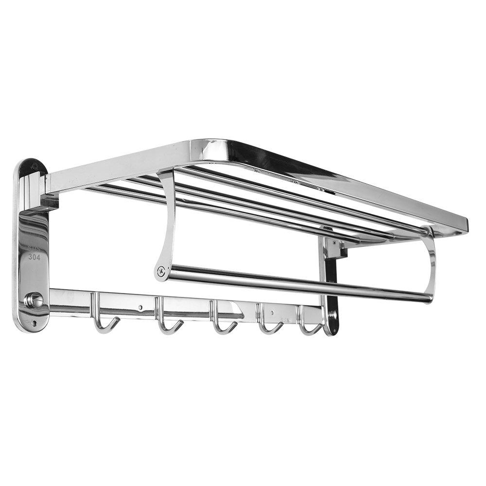 Dosens Premium Stainless Steel Wall Mounted Bathroom Towel Rack Shower Storage Towel Shelf Towel Holder Hotel Rail Shelf Storage Holder with 5 Hooks