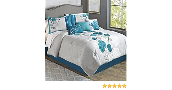 Luxurious 7-Piece Durable Embroidered Blooming Teal Roses  Comforter Set New.