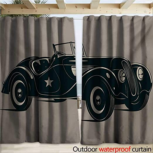 Warmfamily - Cortinas Impermeables para Puertas correderas, diseño de Coches de los años 50, Color marrón y Negro: Amazon.es: Jardín